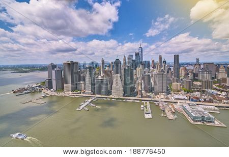 Stunning aerial view of lower Manhattan Skyline on a sunny day, New York City