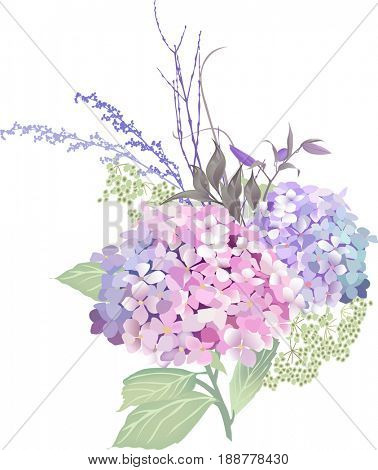 Bouquet of red, pink and blue flowers - illustration.
