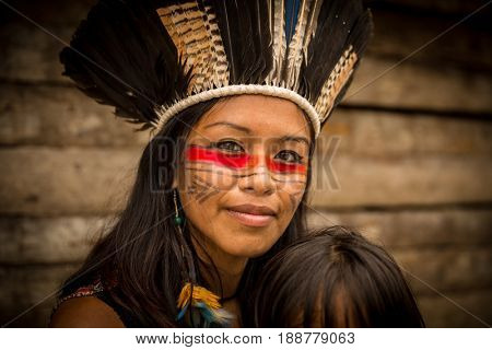 Beautiful Native Brazilian Woman from Tupi Guarani Tribe, Brazil