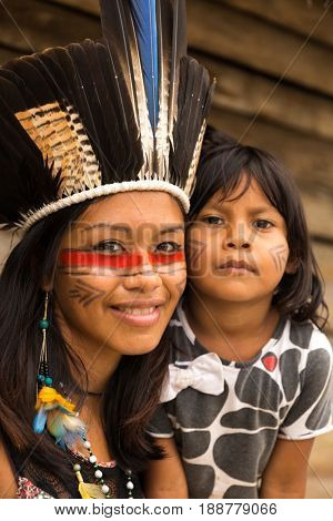 Mother and daughter from Tupi Guarani Tribe in Brazil