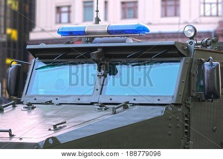 Police armour car close up