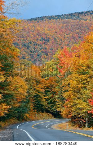Highway and Autumn foliage in White Mountain, New Hampshire.