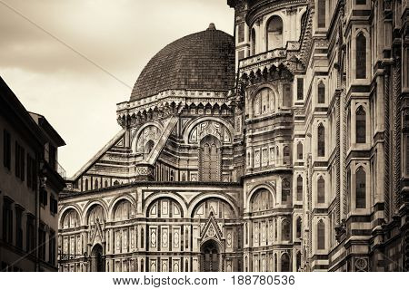 Duomo Santa Maria Del Fiore in Florence Italy closeup view in black and white.