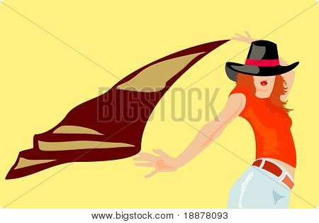 vector image of posing girl