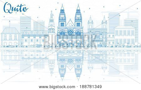 Outline Quito Skyline with Blue Buildings and Reflections. Business Travel and Tourism Concept with Historic Architecture. Image for Presentation Banner Placard and Web Site.