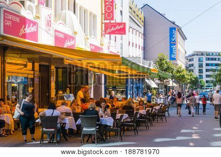 SAARBRUCKEN, GERMANY - May 26, 2017: street view of Saarbrucken, is the capital and largest city of the state of Saarland. May 26, 2017 in Saarbrucken, Germany