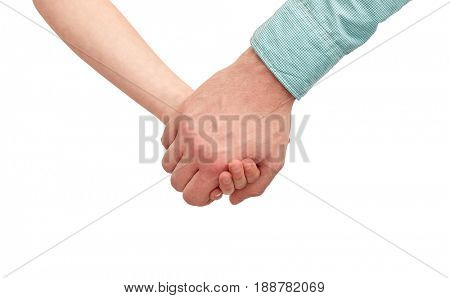 family, childhood, fatherhood and people concept - happy father and child holding hands