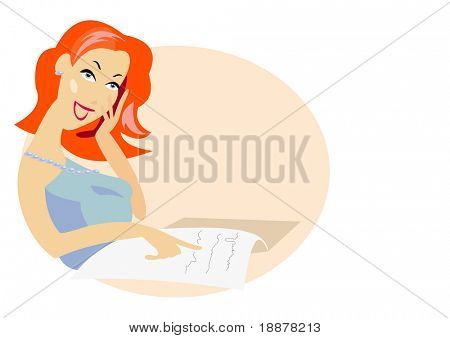 vector image of woman phone talk concept