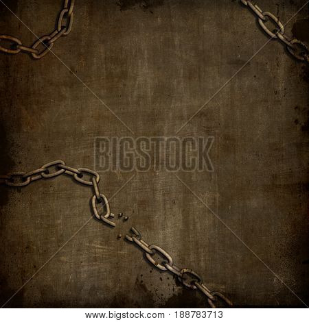 Abstract grunge background with broken chains, splats and stains