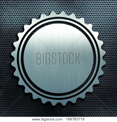 Grunge perforated metal texture background with brushed aluminium badge