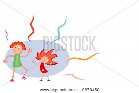 two girls dancing. funny vector background for party cards and posters