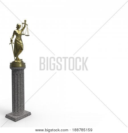 Themis with scale and sword 3d rendering