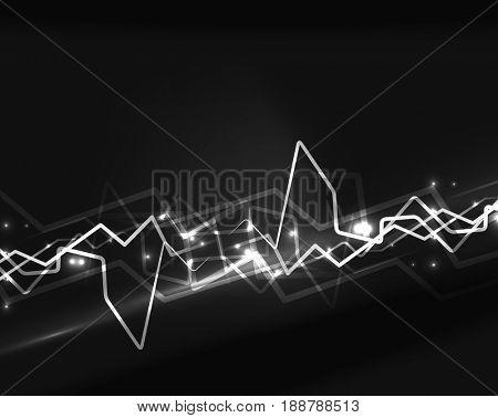 Neon white lightning background template