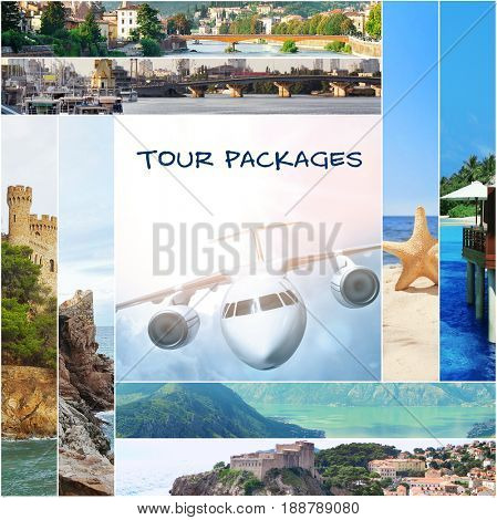 Tour packages concept. Collage for travel theme