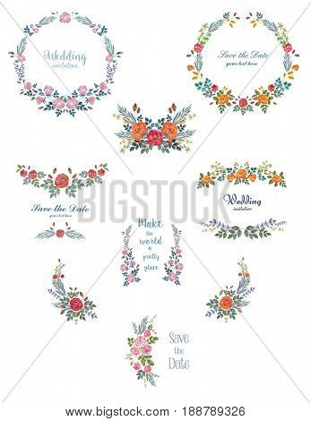 Set of Watercolor Wreaths , Decoration with Roses and Herbs. Floral Backgrounds for Wedding, Invitation, Valentine's Day, Mothers Day.