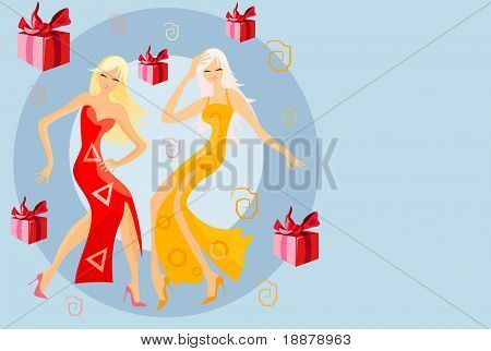 vector image of two  joyful women
