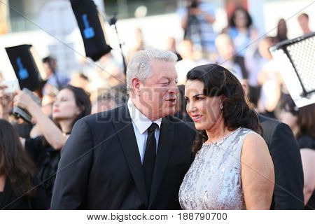 Al Gore (L) and Elizabeth Keadle attends the 70th Anniversary of the 70th annual Cannes Film Festival at Palais des Festivals on May 23, 2017 in Cannes, France.