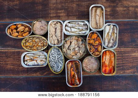 Assortment of open tin cans for a healthy dinner