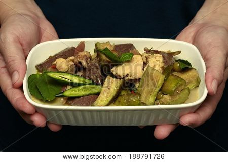 Green Chicken Curry In Coconut Milk With Long Eggplant .