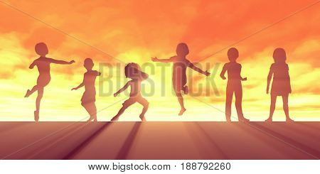 Active Lifestyle for Children Mental and Physical Wellbeing 3D Illustration Render