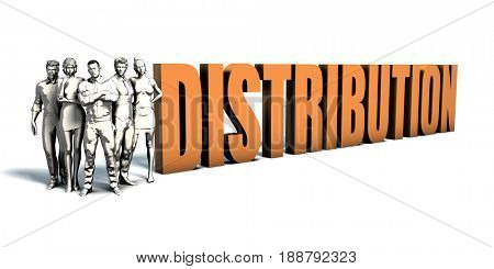 Business People Team Focusing on Improving Distribution as a Concept 3D Illustration Render