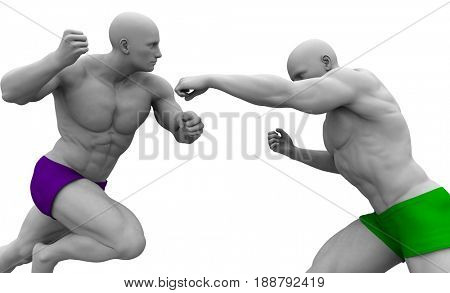 Fighting or Warrior Spirit with Men Fighting 3D Illustration Render