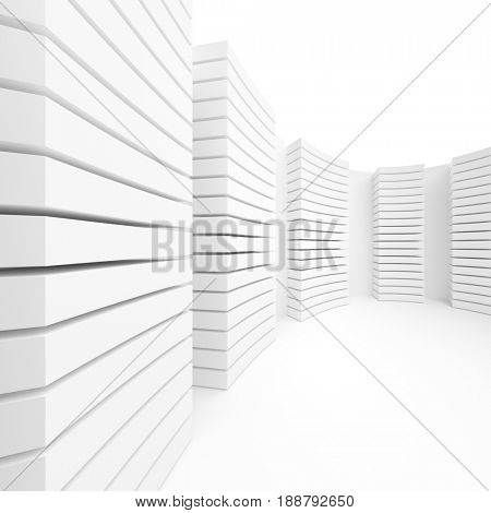 White Modern Architecture Background. Abstract Interior Design. 3d Rendering