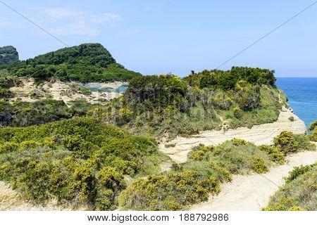 The picturesque cliffs near Sidari - Corfu island in Greece