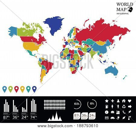 World Map Info graphics.Vector graphic abstract info-graphics with a map and icons in vibrant colors