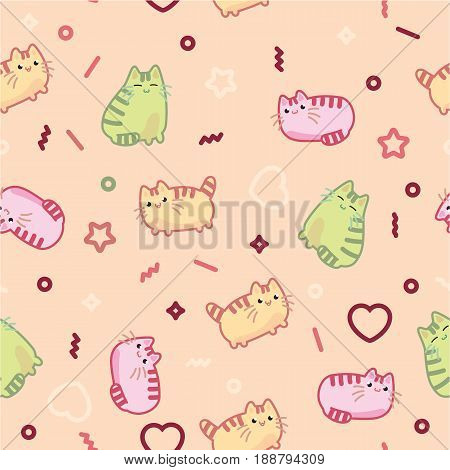Animal print pattern cute kawaii style cat, kitten, kitty, pet on light background. Background colorful design elements in Japanese style isolated kawaii