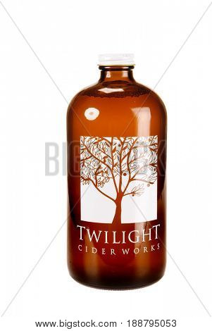 Colbert, WA - April 23, 2017: Bottle of Twilight Cider Works hard Cider isolated on white- illustrative editorial