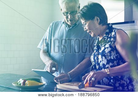 Gradient Color Style with Senior Couple Cooking Food Kitchen