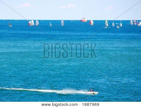 Sailboats And Jetski