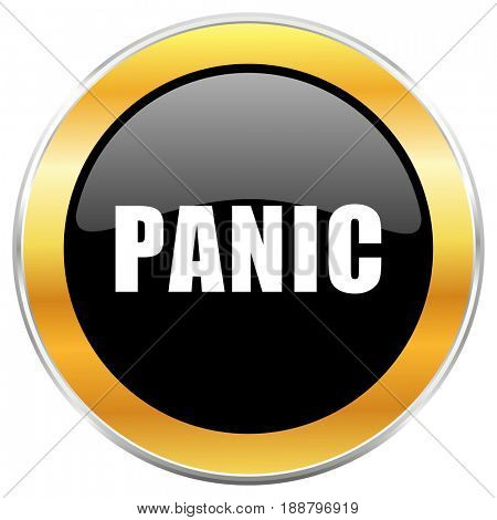 Panic black web icon with golden border isolated on white background. Round glossy button.