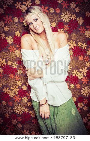 Pretty blond hippie girl smiling