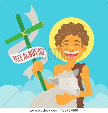 Saint John Baptist, honored in brazilian june parties - Ecce agnus dei (Behold the lamb of God)  - Flat vector cartoon for june party or religious themes