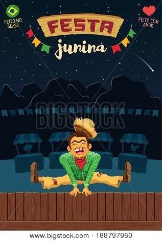 Festa Junina (Brazilian June Party) - A5 proportional template - Made in Brazil - Made with love - Creative vector cartoon template for june party themes
