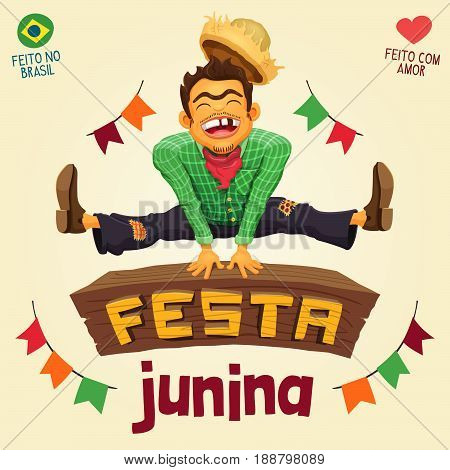 Festa Junina (Brazilian June Party) - Happy peasant jumping over sign - Made in Brazil - Made with love - Detailed vector cartoon for june party themes.