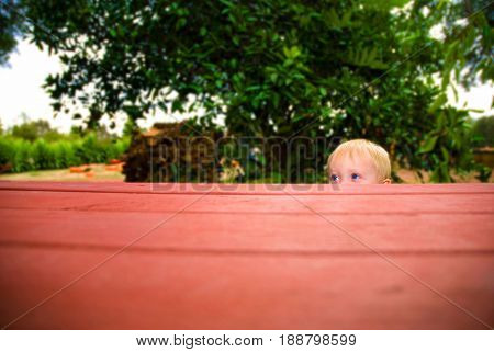 Toddler peeks over the top of a picnic table