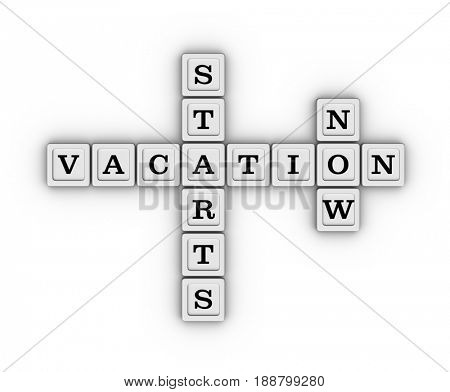 Vacation starts now crossword. 3D illustration on white background.