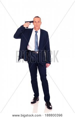Mafia man with handgun near head