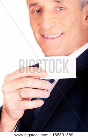 Businessman showing a blank identity name card