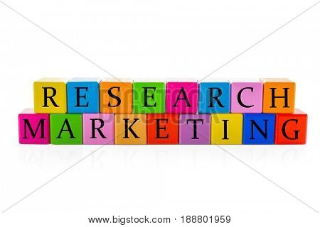 Colorful cubes with text RESEARCH MARKETING on white background