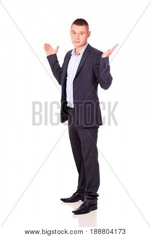 Businessman making undecided gesture