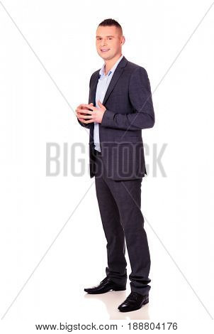 Businessman with clenched hands