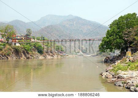 The suspension bridge at Laxman Jhula in India Asia