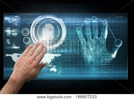 Digital composite of hand with light on the screen