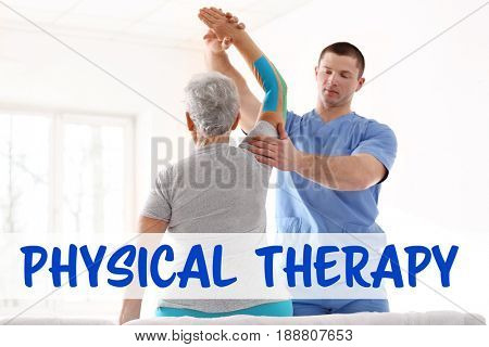 Physical therapy concept. Physiotherapist working with patient in rehabilitation center