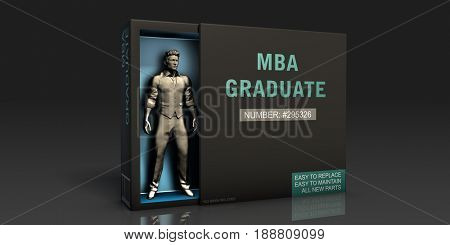 MBA Graduate Employment Problem and Workplace Issues 3D Illustration Render