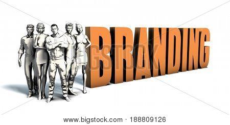 Business People Team Focusing on Improving Branding as a Concept 3D Illustration Render